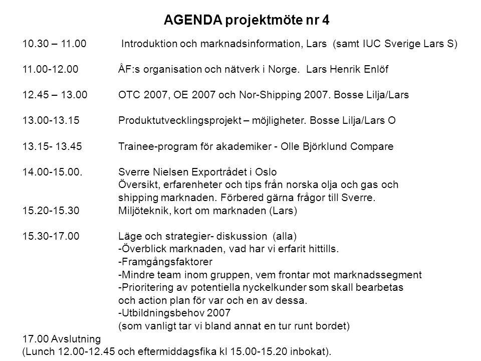 AGENDA projektmöte nr 4 10.30 – 11.00 Introduktion och marknadsinformation, Lars (samt IUC Sverige Lars S) 11.00-12.00 ÅF:s organisation och nätverk i Norge.