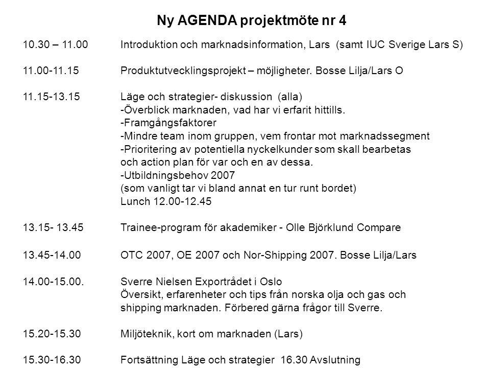 Ny AGENDA projektmöte nr 4 10.30 – 11.00Introduktion och marknadsinformation, Lars (samt IUC Sverige Lars S) 11.00-11.15 Produktutvecklingsprojekt – möjligheter.