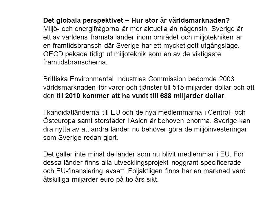 Det globala perspektivet – Hur stor är världsmarknaden? Miljö- och energifrågorna är mer aktuella än någonsin. Sverige är ett av världens främsta länd