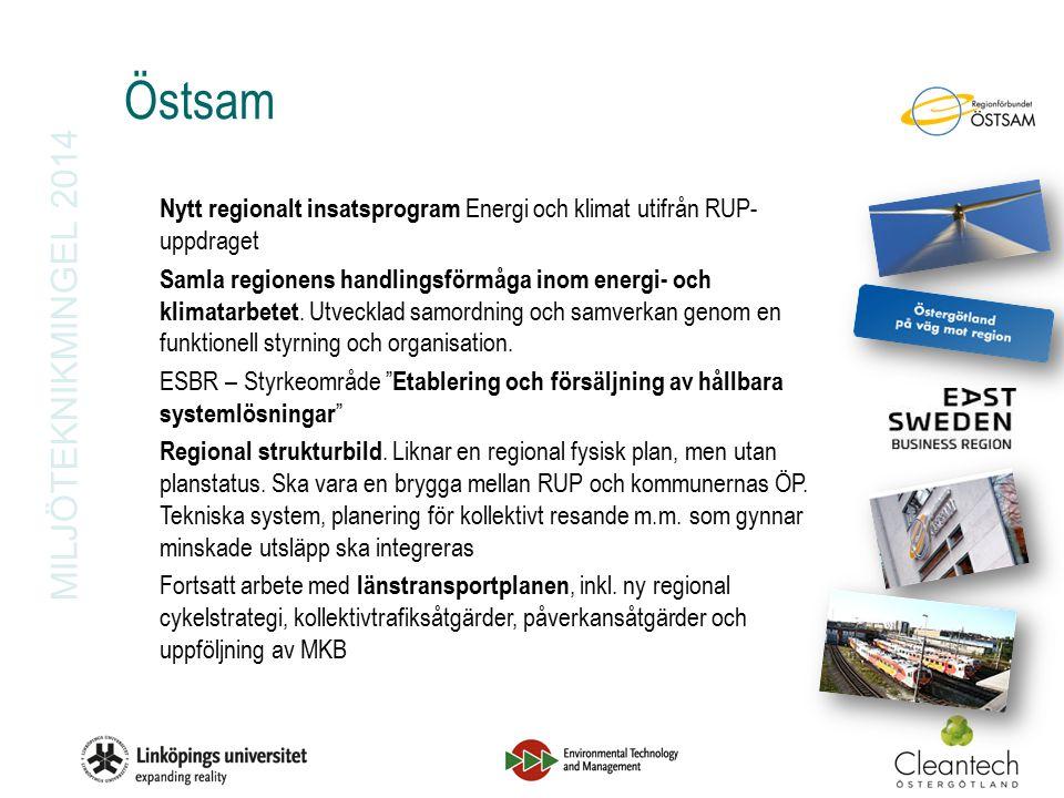 MILJÖTEKNIKMINGEL 2014 Östsam Nytt regionalt insatsprogram Energi och klimat utifrån RUP- uppdraget Samla regionens handlingsförmåga inom energi- och klimatarbetet.