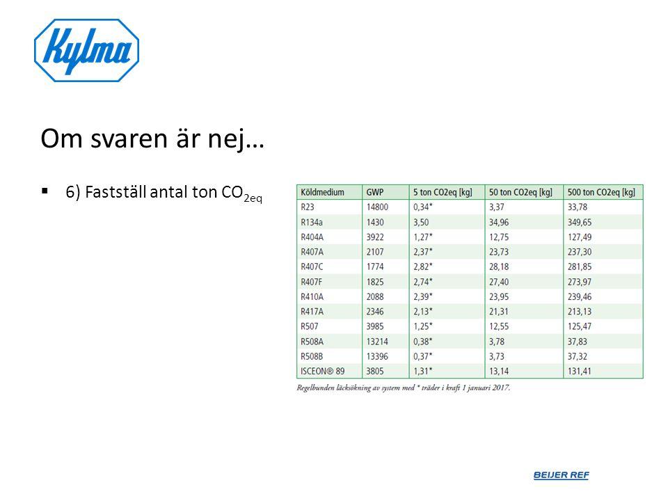 Om svaren är nej…  6) Fastställ antal ton CO 2eq