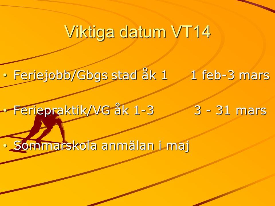 Viktiga datum VT14 Feriejobb/Gbgs stad åk 1 1 feb-3 mars Feriejobb/Gbgs stad åk 1 1 feb-3 mars Feriepraktik/VG åk 1-3 3 - 31 mars Feriepraktik/VG åk 1