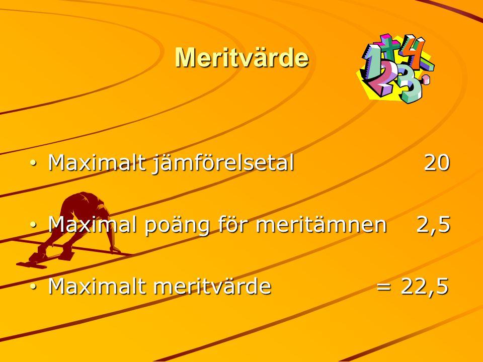 Meritvärde Maximalt jämförelsetal 20 Maximalt jämförelsetal 20 Maximal poäng för meritämnen2,5 Maximal poäng för meritämnen2,5 Maximalt meritvärde = 2