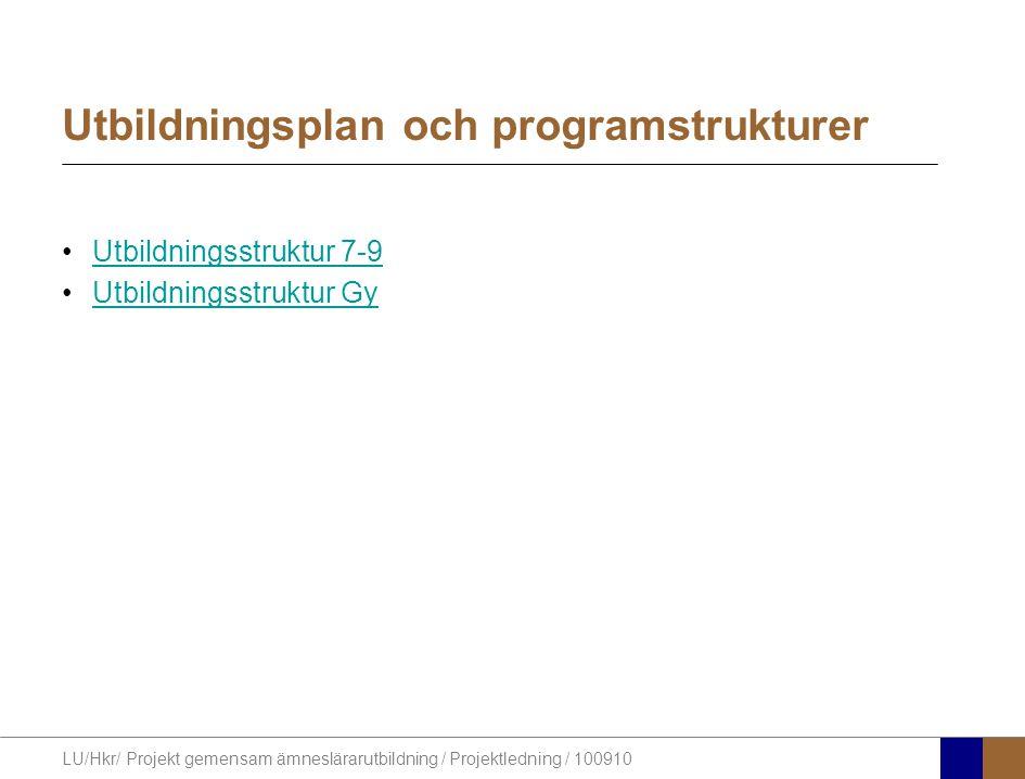 LU/Hkr/ Projekt gemensam ämneslärarutbildning / Projektledning / 100910 Utbildningsplan och programstrukturer Utbildningsstruktur 7-9 Utbildningsstruktur Gy
