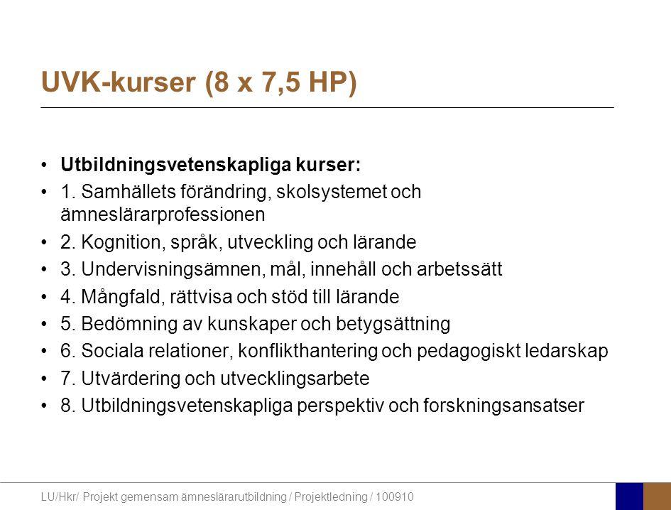 LU/Hkr/ Projekt gemensam ämneslärarutbildning / Projektledning / 100910 UVK-kurser (8 x 7,5 HP) Utbildningsvetenskapliga kurser: 1.