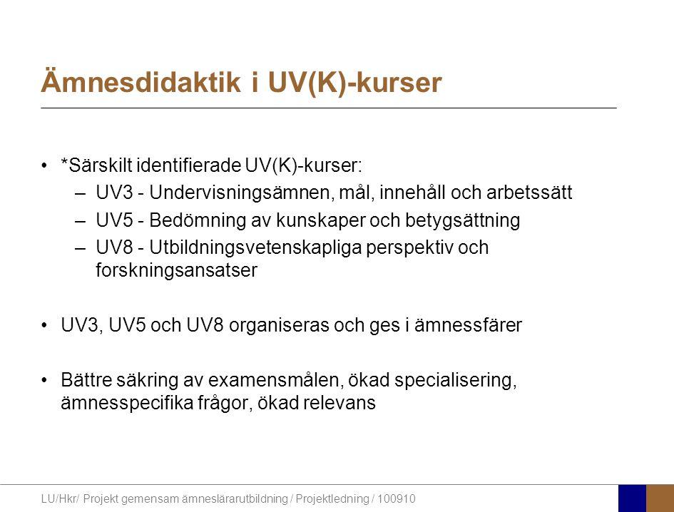 LU/Hkr/ Projekt gemensam ämneslärarutbildning / Projektledning / 100910 Ämnesdidaktik i UV(K)-kurser *Särskilt identifierade UV(K)-kurser: –UV3 - Undervisningsämnen, mål, innehåll och arbetssätt –UV5 - Bedömning av kunskaper och betygsättning –UV8 - Utbildningsvetenskapliga perspektiv och forskningsansatser UV3, UV5 och UV8 organiseras och ges i ämnessfärer Bättre säkring av examensmålen, ökad specialisering, ämnesspecifika frågor, ökad relevans