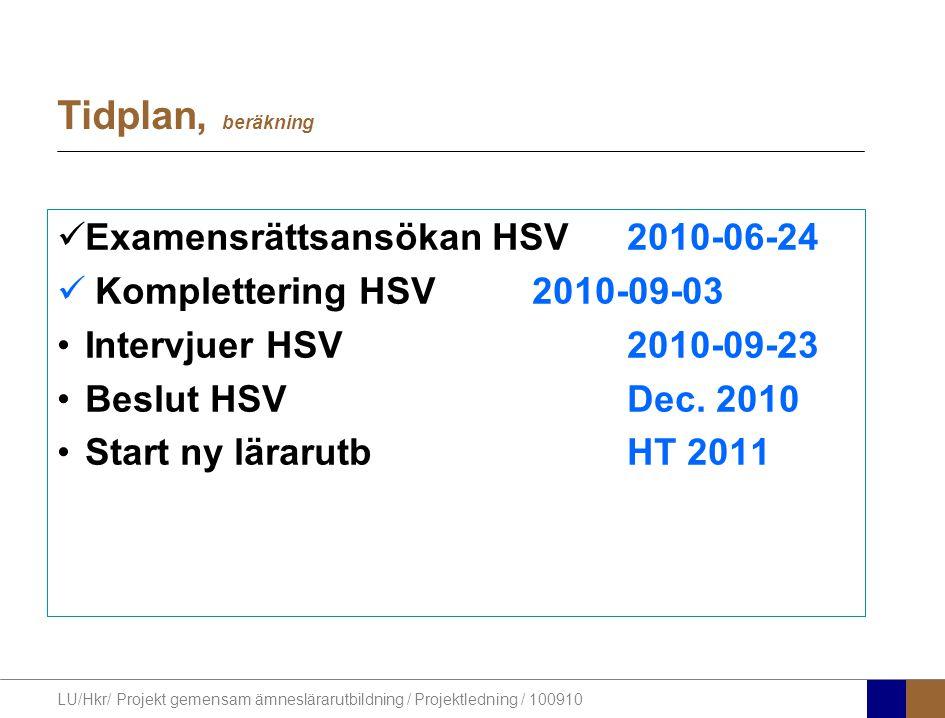 LU/Hkr/ Projekt gemensam ämneslärarutbildning / Projektledning / 100910 Tidplan, beräkning Examensrättsansökan HSV2010-06-24 Komplettering HSV2010-09-03 Intervjuer HSV2010-09-23 Beslut HSVDec.