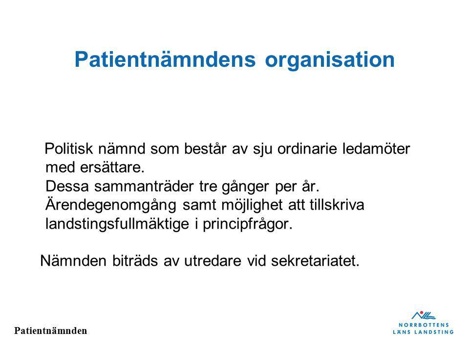 Patientnämnden Patientnämndens organisation Politisk nämnd som består av sju ordinarie ledamöter med ersättare. Dessa sammanträder tre gånger per år.