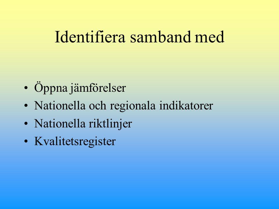 Identifiera samband med Öppna jämförelser Nationella och regionala indikatorer Nationella riktlinjer Kvalitetsregister