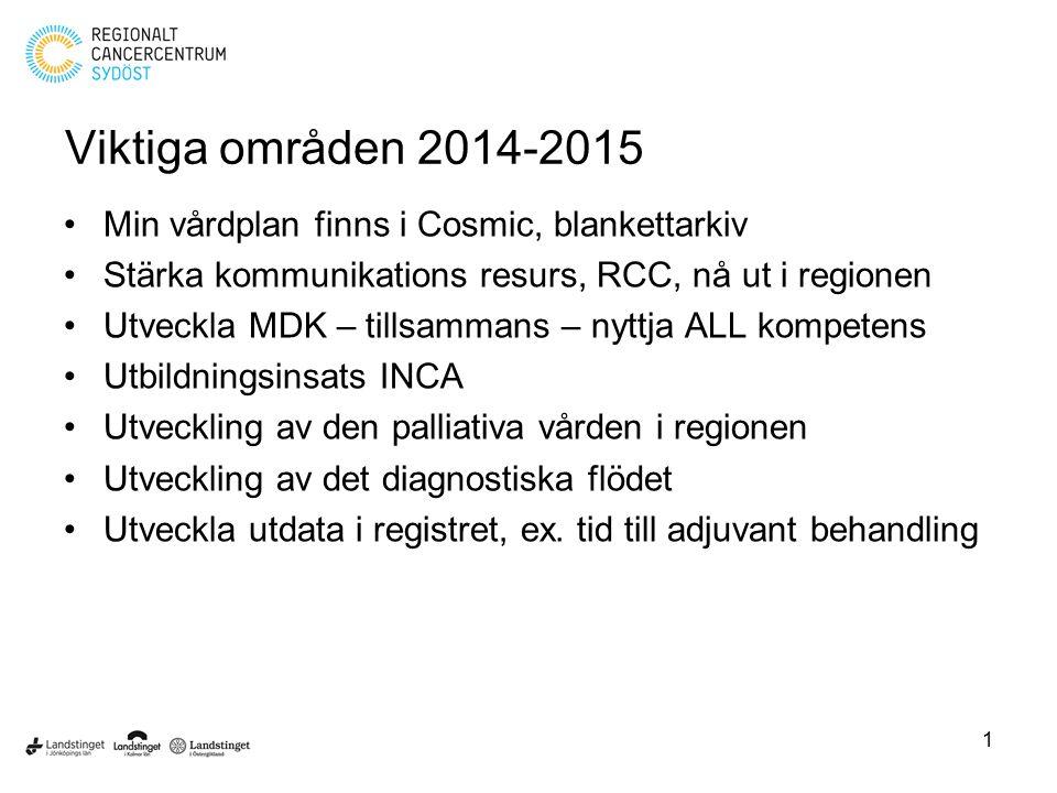 Viktiga områden 2014-2015 Min vårdplan finns i Cosmic, blankettarkiv Stärka kommunikations resurs, RCC, nå ut i regionen Utveckla MDK – tillsammans –