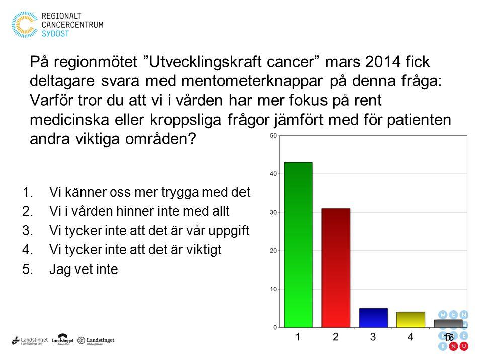 """På regionmötet """"Utvecklingskraft cancer"""" mars 2014 fick deltagare svara med mentometerknappar på denna fråga: Varför tror du att vi i vården har mer f"""