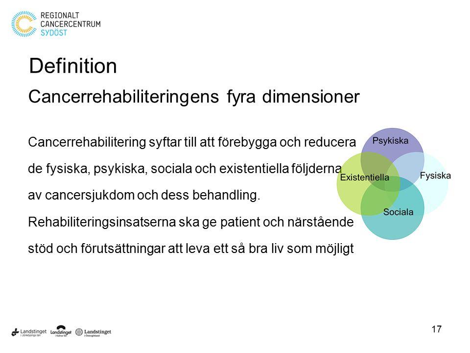 Definition Cancerrehabiliteringens fyra dimensioner Cancerrehabilitering syftar till att förebygga och reducera de fysiska, psykiska, sociala och exis