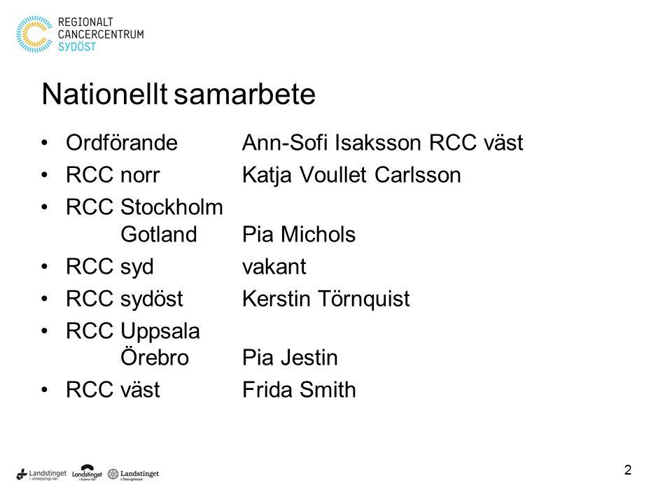 Nationellt samarbete Ordförande Ann-Sofi Isaksson RCC väst RCC norrKatja Voullet Carlsson RCC Stockholm GotlandPia Michols RCC sydvakant RCC sydöstKer