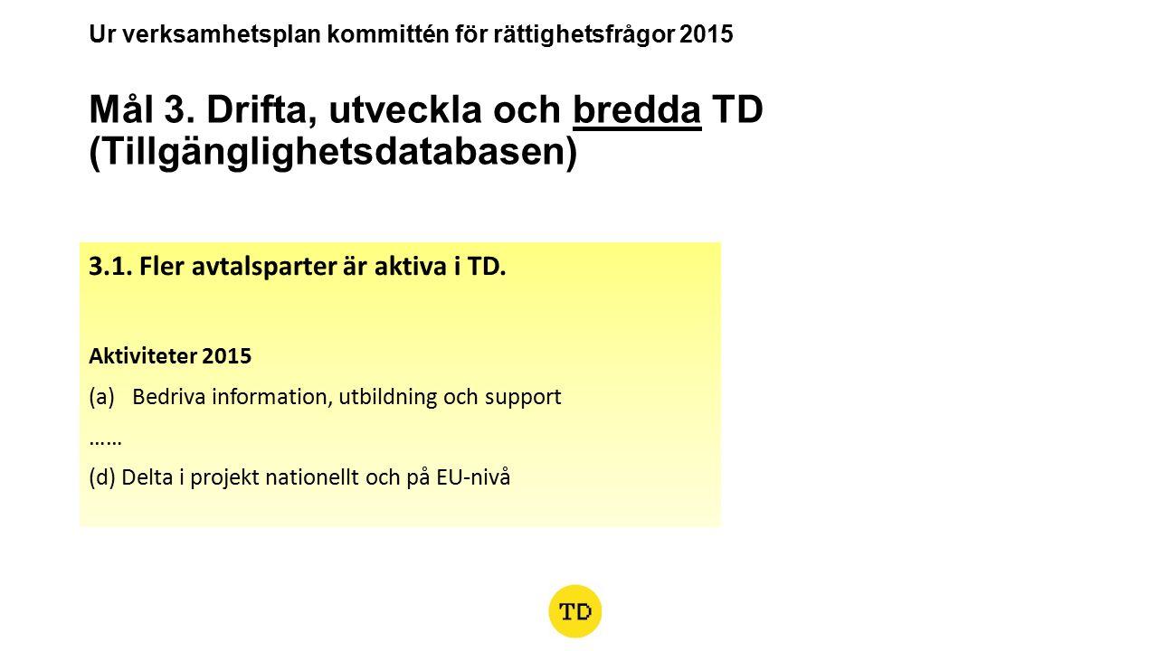 Ur verksamhetsplan kommittén för rättighetsfrågor 2015 Mål 3.