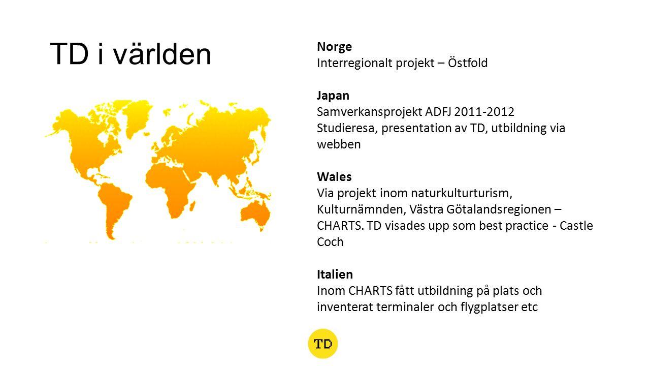 TD i världen Norge Interregionalt projekt – Östfold Japan Samverkansprojekt ADFJ 2011-2012 Studieresa, presentation av TD, utbildning via webben Wales Via projekt inom naturkulturturism, Kulturnämnden, Västra Götalandsregionen – CHARTS.