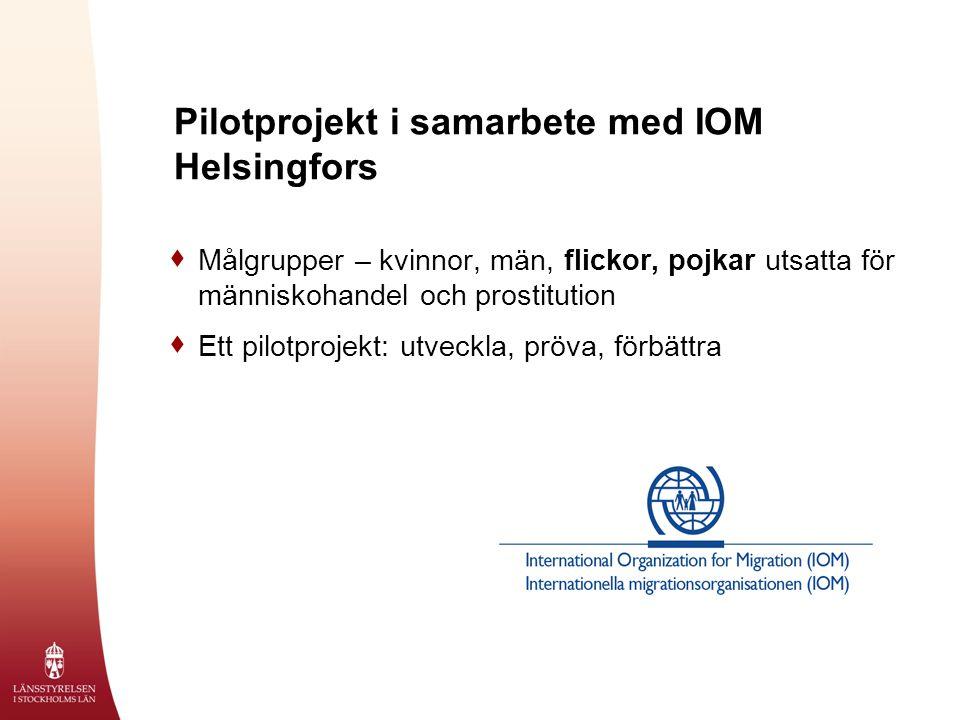  Målgrupper – kvinnor, män, flickor, pojkar utsatta för människohandel och prostitution  Ett pilotprojekt: utveckla, pröva, förbättra Pilotprojekt i samarbete med IOM Helsingfors