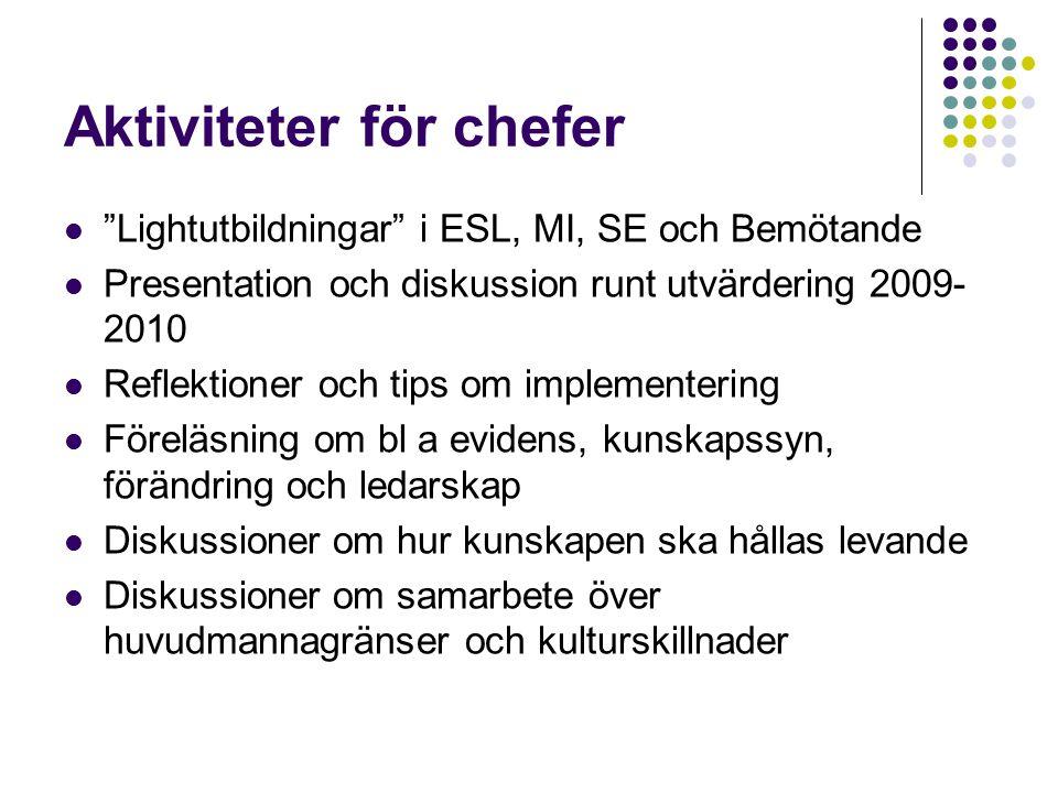 """Aktiviteter för chefer """"Lightutbildningar"""" i ESL, MI, SE och Bemötande Presentation och diskussion runt utvärdering 2009- 2010 Reflektioner och tips o"""