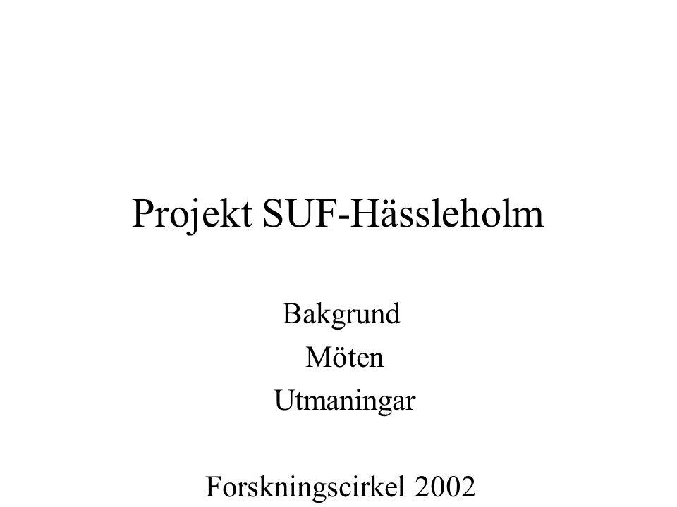 Projekt SUF-Hässleholm Bakgrund Möten Utmaningar Forskningscirkel 2002 Inventering 2003 C-Uppsats 2005 Familjeterapeutisk ansats