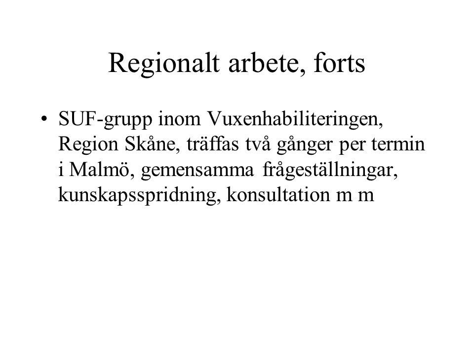 Lokalt arbete Nätverksmöte, Familjebehandlingen Hässleholm, två gånger om året, 2005 Projektansökan från Hässleholms kommun till Länsstyrelsen Projektansökan till Allmänna arvsfonden, FUB och Vuxenhabiliteringen Nordost, ansökan beviljas, två år, början 081101