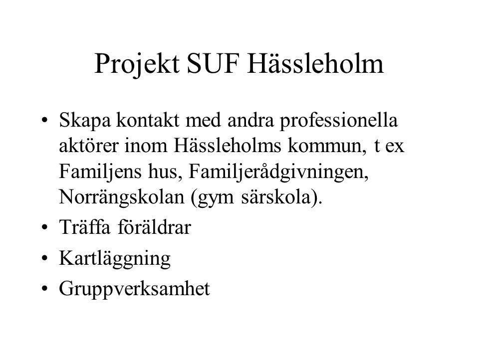 Projekt SUF Hässleholm Skapa kontakt med andra professionella aktörer inom Hässleholms kommun, t ex Familjens hus, Familjerådgivningen, Norrängskolan (gym särskola).