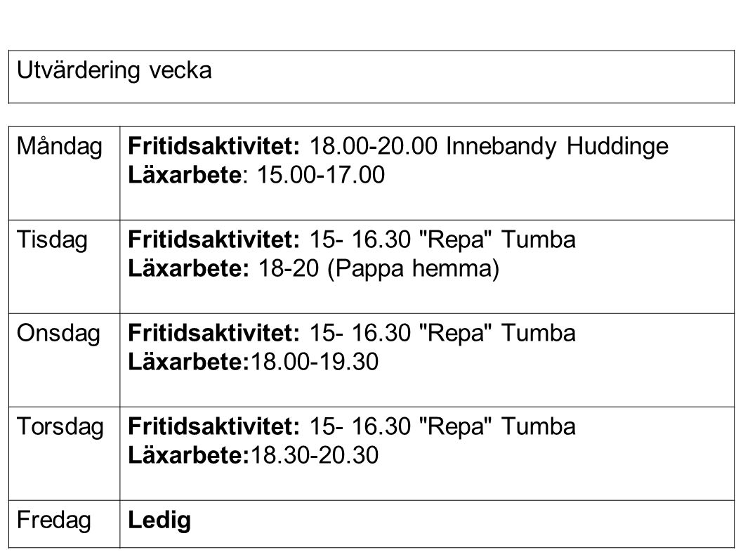 MåndagFritidsaktivitet: 18.00-20.00 Innebandy Huddinge Läxarbete: 15.00-17.00 TisdagFritidsaktivitet: 15- 16.30