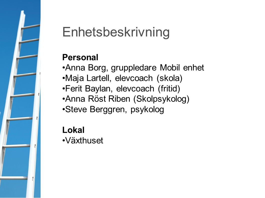 Enhetsbeskrivning Personal Anna Borg, gruppledare Mobil enhet Maja Lartell, elevcoach (skola) Ferit Baylan, elevcoach (fritid) Anna Röst Riben (Skolps