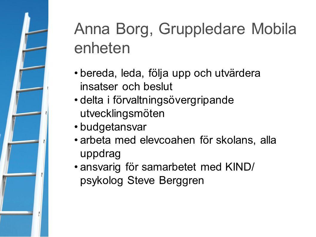 Anna Borg, Gruppledare Mobila enheten bereda, leda, följa upp och utvärdera insatser och beslut delta i förvaltningsövergripande utvecklingsmöten budg