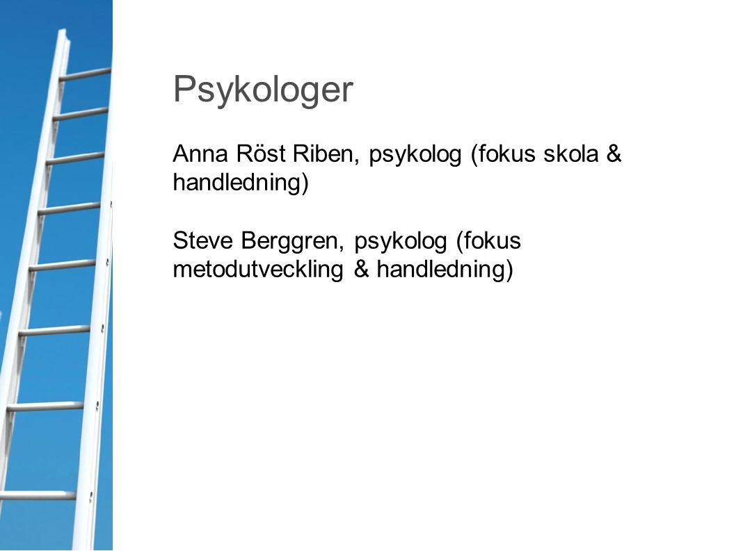 Anna Röst Riben, psykolog (fokus skola & handledning) Steve Berggren, psykolog (fokus metodutveckling & handledning) Psykologer