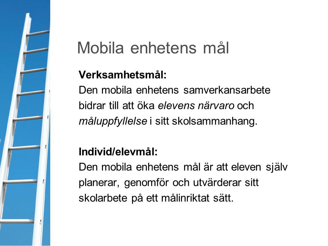 Verksamhetsmål: Den mobila enhetens samverkansarbete bidrar till att öka elevens närvaro och måluppfyllelse i sitt skolsammanhang. Individ/elevmål: De