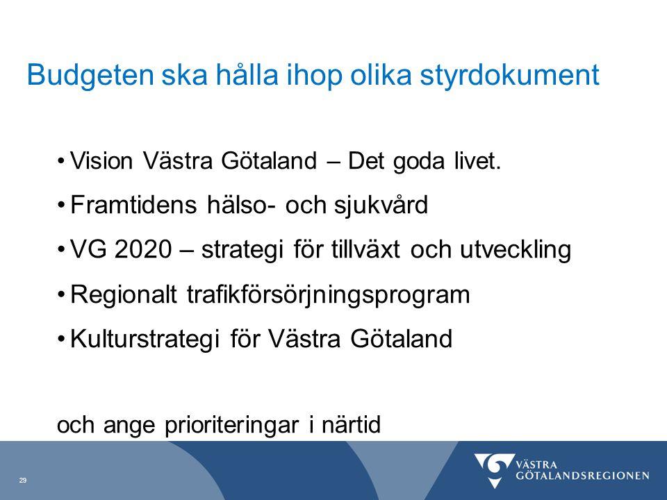 29 Budgeten ska hålla ihop olika styrdokument Vision Västra Götaland – Det goda livet. Framtidens hälso- och sjukvård VG 2020 – strategi för tillväxt
