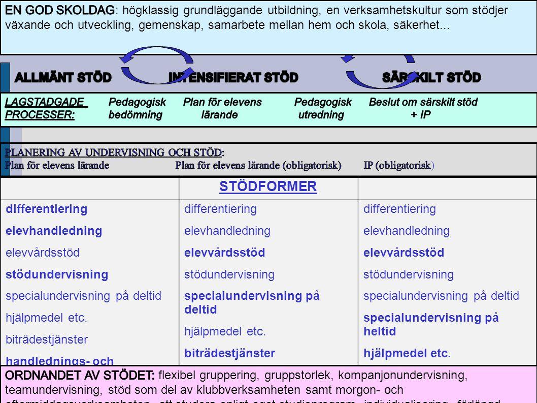 STÖDFORMER differentiering elevhandledning elevvårdsstöd stödundervisning specialundervisning på deltid hjälpmedel etc.