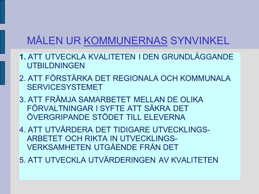 MÅLEN UR KOMMUNERNAS SYNVINKEL 1. ATT UTVECKLA KVALITETEN I DEN GRUNDLÄGGANDE UTBILDNINGEN 2.