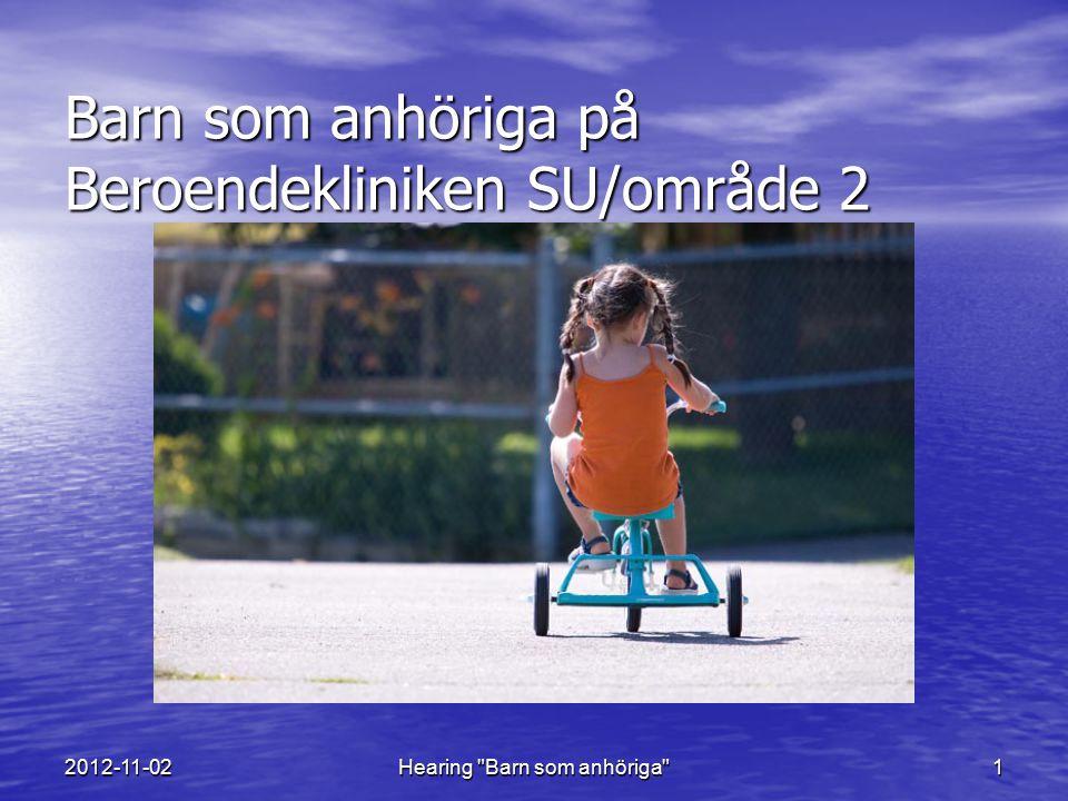 2012-11-02Hearing Barn som anhöriga 12 Planering för utveckling av barnperspektivet Fortsatt samverkan och nätverksbyggande med andra myndigheter och ideella organisationer Fortsatt samverkan och nätverksbyggande med andra myndigheter och ideella organisationer Inrätta nätverk med övriga socionomer med ansvar för implementering av barnperspektivet inom SU/område 2, psykiatri Inrätta nätverk med övriga socionomer med ansvar för implementering av barnperspektivet inom SU/område 2, psykiatri Utveckla arbetet med metoden Föra barn på tal på enheterna Utveckla arbetet med metoden Föra barn på tal på enheterna Utbildning i Beerdsleymetoden planeras Utbildning i Beerdsleymetoden planeras Anordna återkommande utbildningsinsatser om att arbeta utifrån ett barnperspektiv för all personal inom kliniken Anordna återkommande utbildningsinsatser om att arbeta utifrån ett barnperspektiv för all personal inom kliniken Bevaka och påverka så att datajournalsystemet Melior anpassas så att barnens situation och eventuella behov av stöd lättare uppmärksammas.
