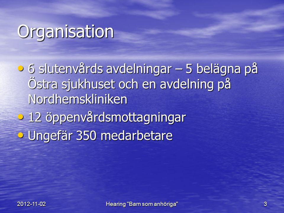 2012-11-02Hearing Barn som anhöriga 14 Slutsatser Stöd från verksamhetsledning och chefer är nödvändigt Stöd från verksamhetsledning och chefer är nödvändigt Arbetsgruppsmodellen (barnperspektivgruppen) fungerar som metod för implementering och utveckling av barnperspektivet Arbetsgruppsmodellen (barnperspektivgruppen) fungerar som metod för implementering och utveckling av barnperspektivet Implementeringsarbetet måste få ta tid, byggas systematiskt och på en stabil grund Implementeringsarbetet måste få ta tid, byggas systematiskt och på en stabil grund HSL ger kraft och stöd att föra barn på tal HSL ger kraft och stöd att föra barn på tal Klinikövergripande gemensamma dokument och beslut är en tillgång i arbetet på enhetsnivå Klinikövergripande gemensamma dokument och beslut är en tillgång i arbetet på enhetsnivå Varje enhet behöver dock finna sin egen metod för att integrera barnperspektivet Varje enhet behöver dock finna sin egen metod för att integrera barnperspektivet Att arbeta utifrån ett barnperspektiv bygger på ett fungerande anhörig- och närståendearbete.