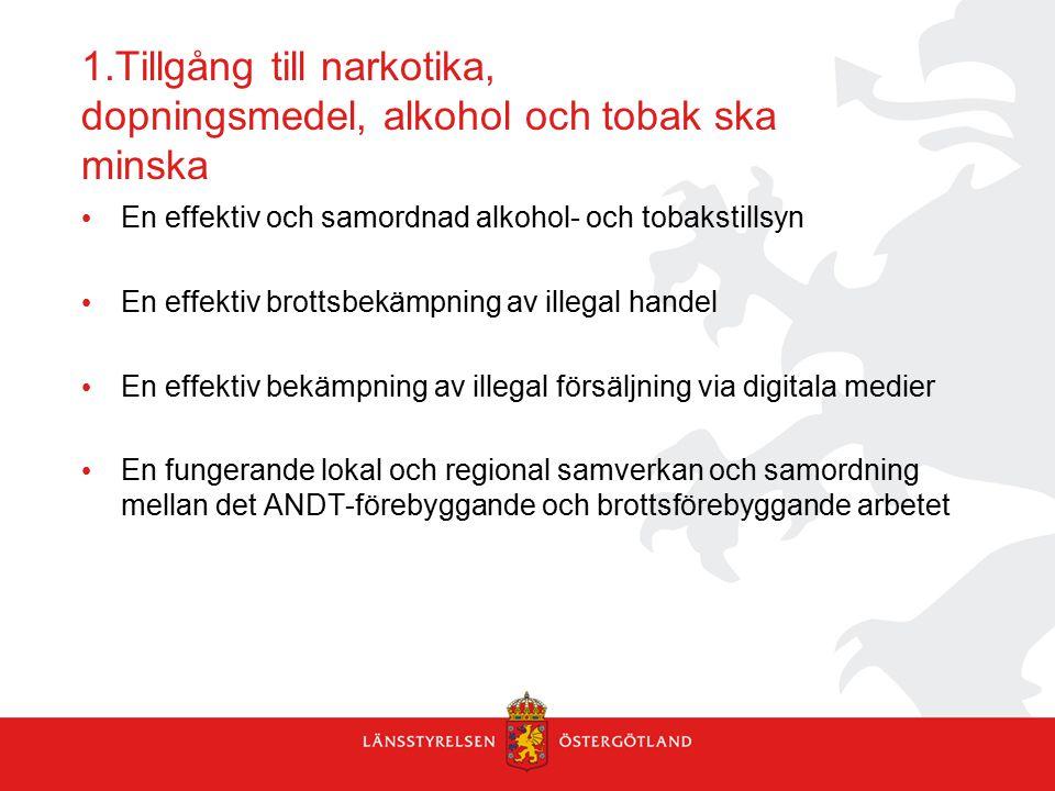 1.Tillgång till narkotika, dopningsmedel, alkohol och tobak ska minska En effektiv och samordnad alkohol- och tobakstillsyn En effektiv brottsbekämpning av illegal handel En effektiv bekämpning av illegal försäljning via digitala medier En fungerande lokal och regional samverkan och samordning mellan det ANDT-förebyggande och brottsförebyggande arbetet