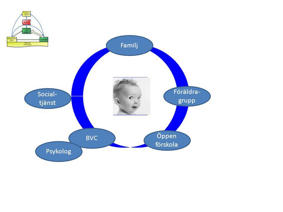 Familj Föräldra- grupp BVC Social- tjänst Öppen förskola Psykolog