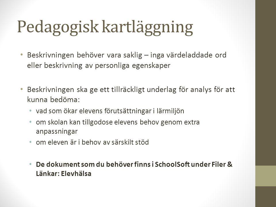 Förslag på litteratur Arbete med extra anpassningar, särskilt stöd och åtgärdsprogram Skolverket http://www.skolverket.se/om-skolverket/publikationer/visa-enskild- publikation?_xurl_=http%3A%2F%2Fwww5.skolverket.se%2Fwtpub%2Fws%2Fskolbok%2Fwpubext%2Ftrycksak%2FRe cord%3Fk%3D3299 Stödinsatser i utbildningen Skolverket http://www.skolverket.se/om-skolverket/publikationer/visa-enskild- publikation?_xurl_=http%3A%2F%2Fwww5.skolverket.se%2Fwtpub%2Fws%2Fskolbok%2Fwpubext%2Ftrycksak%2FRe cord%3Fk%3D3362 Runström Nilsson, Petra (2012): Pedagogisk kartläggning.