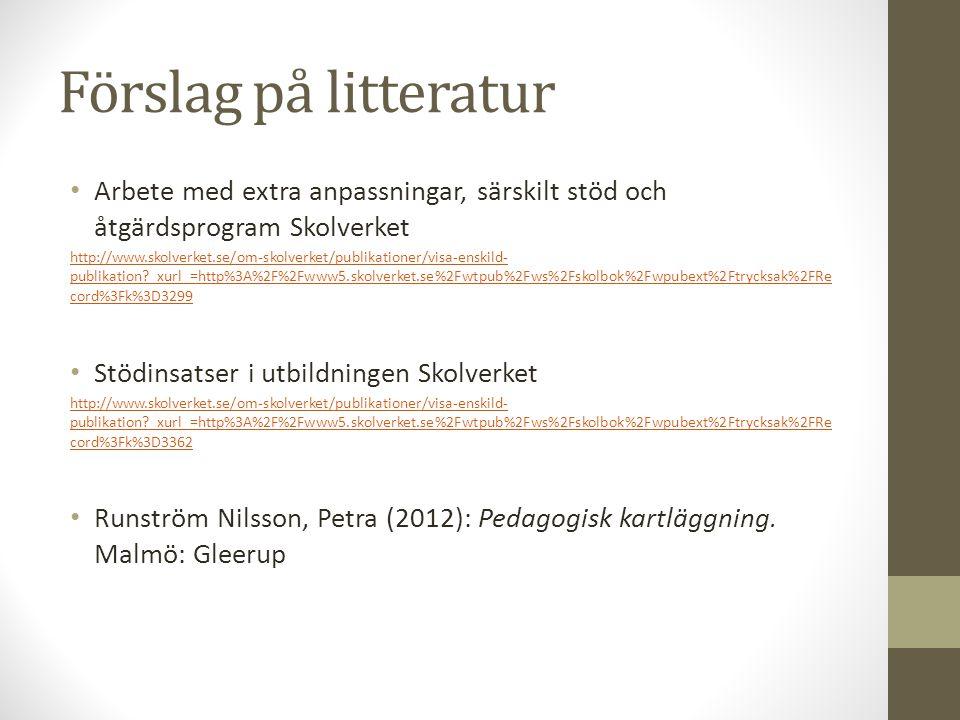 Förslag på litteratur Arbete med extra anpassningar, särskilt stöd och åtgärdsprogram Skolverket http://www.skolverket.se/om-skolverket/publikationer/