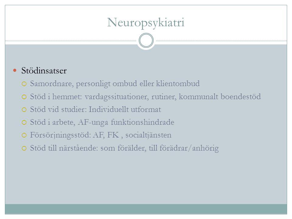 Neuropsykiatri Stödinsatser  Samordnare, personligt ombud eller klientombud  Stöd i hemmet: vardagssituationer, rutiner, kommunalt boendestöd  Stöd