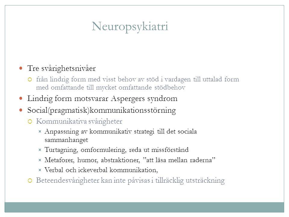 Neuropsykiatri Tre svårighetsnivåer  från lindrig form med visst behov av stöd i vardagen till uttalad form med omfattande till mycket omfattande stö