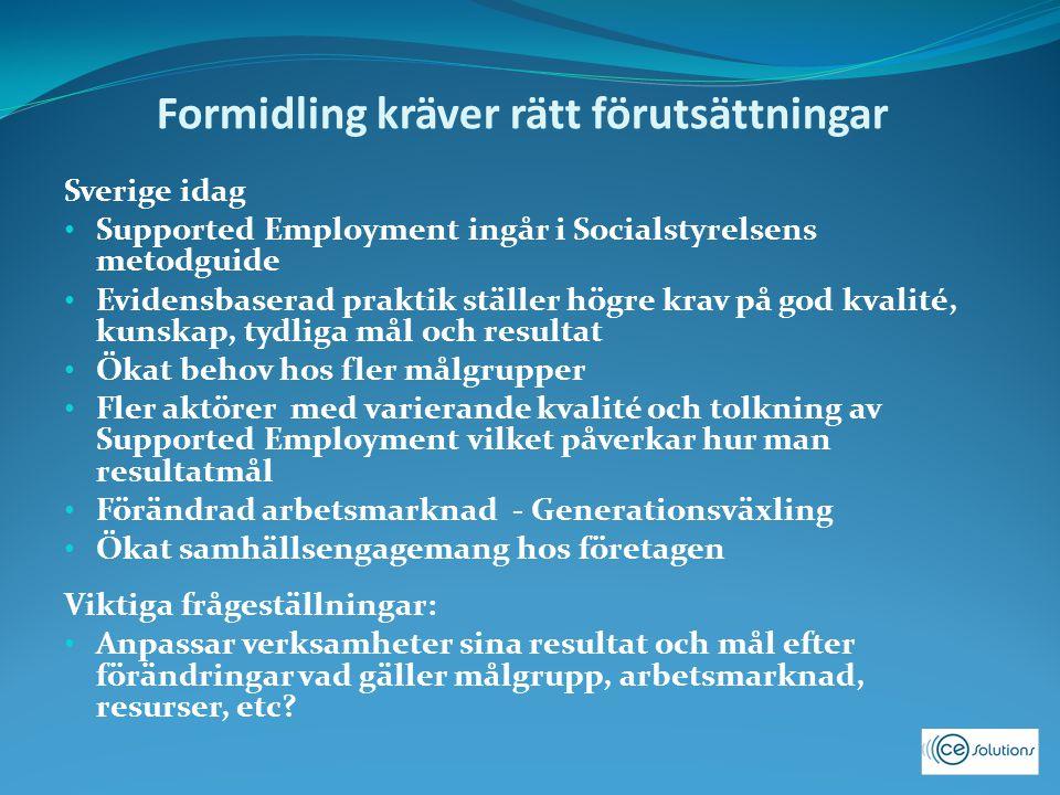 Formidling kräver rätt förutsättningar Sverige idag Supported Employment ingår i Socialstyrelsens metodguide Evidensbaserad praktik ställer högre krav på god kvalité, kunskap, tydliga mål och resultat Ökat behov hos fler målgrupper Fler aktörer med varierande kvalité och tolkning av Supported Employment vilket påverkar hur man resultatmål Förändrad arbetsmarknad - Generationsväxling Ökat samhällsengagemang hos företagen Viktiga frågeställningar: Anpassar verksamheter sina resultat och mål efter förändringar vad gäller målgrupp, arbetsmarknad, resurser, etc