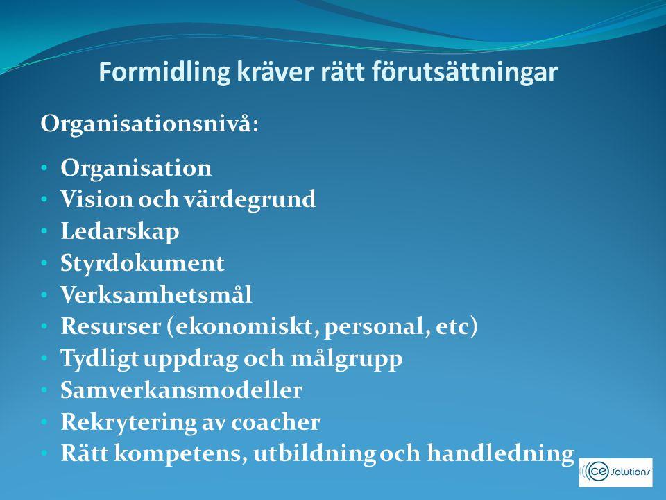 Formidling kräver rätt förutsättningar Organisationsnivå: Organisation Vision och värdegrund Ledarskap Styrdokument Verksamhetsmål Resurser (ekonomisk