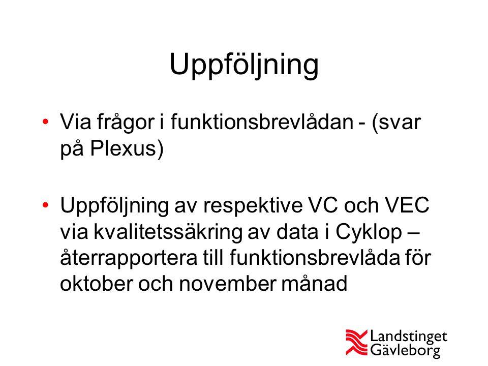 Uppföljning Via frågor i funktionsbrevlådan - (svar på Plexus) Uppföljning av respektive VC och VEC via kvalitetssäkring av data i Cyklop – återrappor