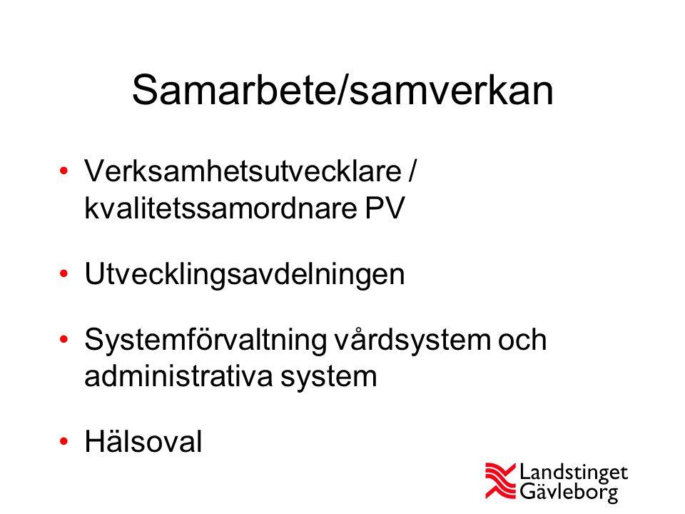 Samarbete/samverkan Verksamhetsutvecklare / kvalitetssamordnare PV Utvecklingsavdelningen Systemförvaltning vårdsystem och administrativa system Hälso