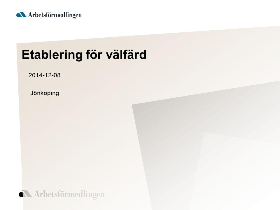 Etablering för välfärd 2014-12-08 Jönköping