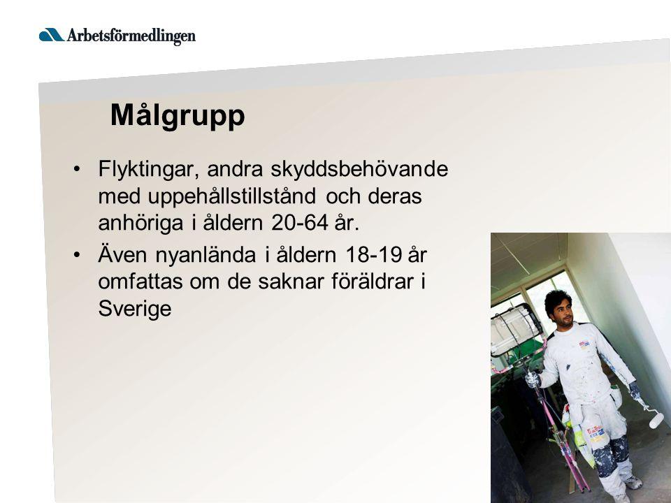 Målgrupp Flyktingar, andra skyddsbehövande med uppehållstillstånd och deras anhöriga i åldern 20-64 år. Även nyanlända i åldern 18-19 år omfattas om d