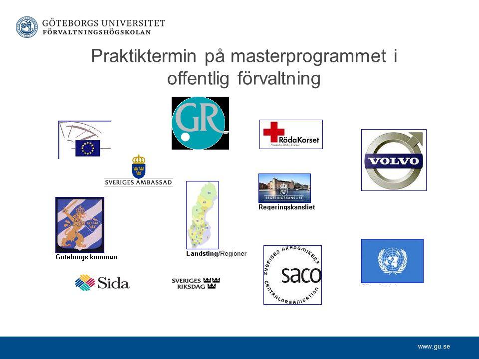 www.gu.se Praktiktermin på masterprogrammet i offentlig förvaltning