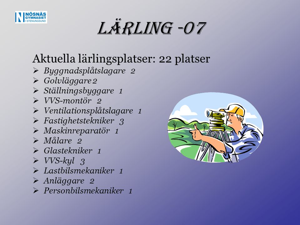 Lärling -07 Aktuella lärlingsplatser: 22 platser  Byggnadsplåtslagare 2  Golvläggare2  Ställningsbyggare 1  VVS-montör 2  Ventilationsplåtslagare