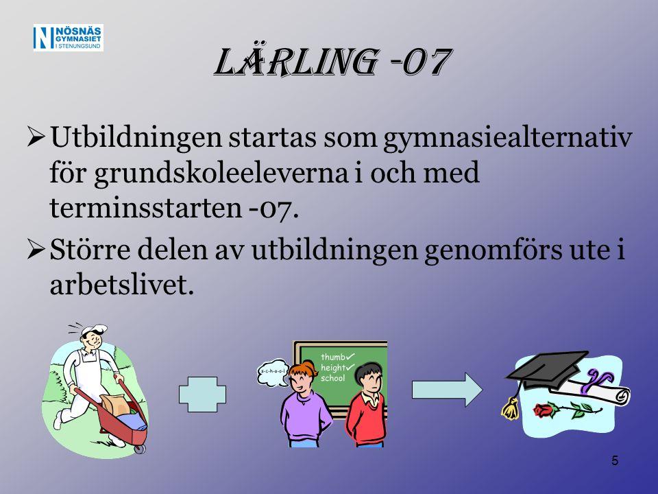 5 Lärling -07  Utbildningen startas som gymnasiealternativ för grundskoleeleverna i och med terminsstarten -07.  Större delen av utbildningen genomf