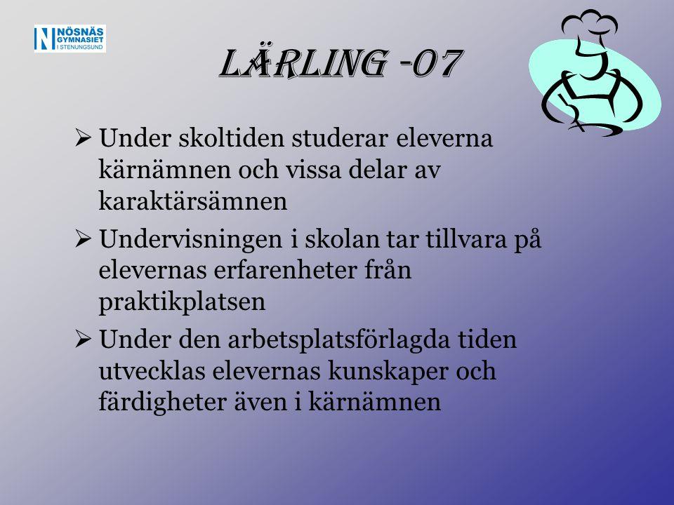 Lärling -07  Under skoltiden studerar eleverna kärnämnen och vissa delar av karaktärsämnen  Undervisningen i skolan tar tillvara på elevernas erfare